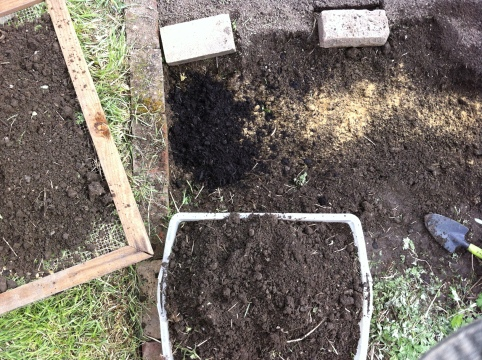 After breaking up the sod, rake the weeds, dirt and rocks into a pile and deposit them into a container.  Add a handful of bone meal and a layer of compost. Then, sieve material back into the patch.